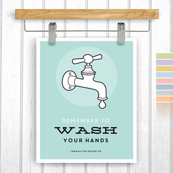 Bathroom print - Wash your hands - Digital Download - Printable 8x10 - Bathroom rules - Wash hands - Instant Download - Wall Art - Retro