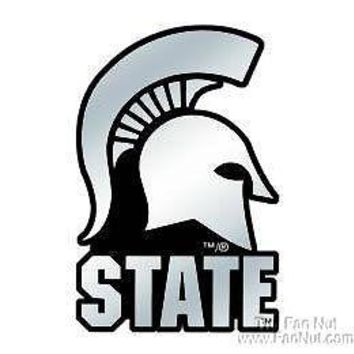 Michigan State Spartans Silver Chrome Colored Auto Emblem Decal University