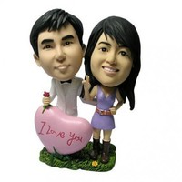 Personalized Beach Moon Bobbleheads. A Romantic Figurine Couple. | wedding-cake-toppers - Dolls & Miniatures on ArtFire