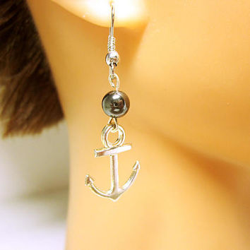 JEWELRY  Silver Anchor Earrings Nautical Wedding Pearl Accent Bead Silver Nautical Anchor Gift Idea For Her