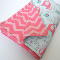 Baby Blanket Play Mat - Baby Girl - Blue & Pink/Coral Elephants - Pink/Coral Chevron - Cotton / Cotton Flannel / Bamboo All-Natural Batting