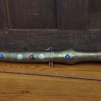 Vintage Brass and Jeweled Arabian Nights Dagger Knife Great Prop