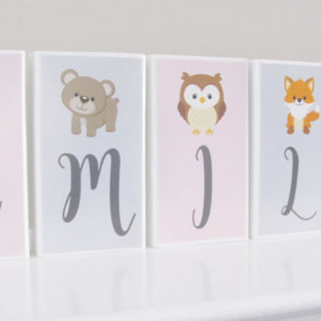 Woodland Name Blocks, Baby Girl, Fox, Baby Name Blocks, Baby Gift, Baby Shower, Newborn, Nursery Girl Boy Letters, Name  Blocks, Photo Prop