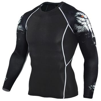Men's Fitness T Shirts Fashion 3D Teen Wolf Long Sleeve Compression Shirt Bodybuilding Clothing Fitness