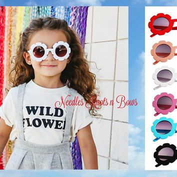 Girls Fashion Sunglasses, Flower Sunglasses in 6 Colors, White - Black - Pink- Red - Blue & Peach