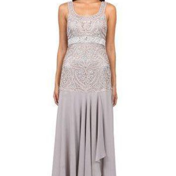 Sue Wong Platinum Embroidered Bodice Gown Sleeveless Dress
