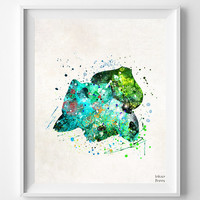 Bulbasaur Print, Pokemon Watercolor, Pokemon Poster, Pocket Monster, Animation, Baby Room, Nursery Art, Fathers Day Gift