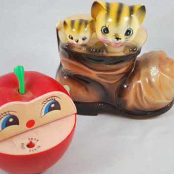 Collectible Banks , Apple and hungry worm  , Cats in a  boot , Money Bank , Japan
