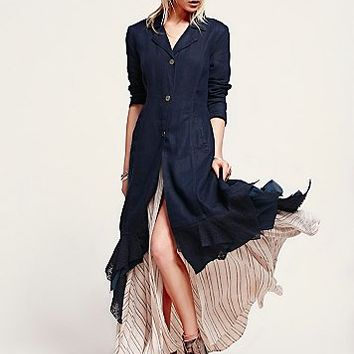 Free People Womens Linen Long Lace Up Jacket