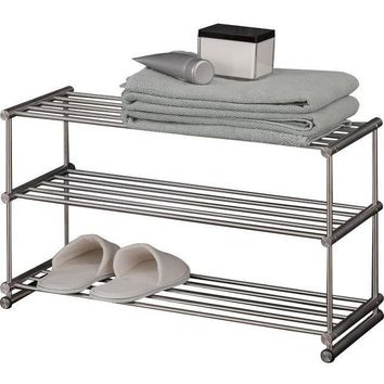PSBA Floor Standing Shelf Towel Rack Bath Storage Holder 3-tier Matte Steel