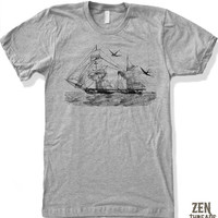 Mens Vintage STEAMSHIP Illustration T-Shirt american apparel S M L XL (17 Colors Available)