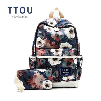 TTOU Printing Backpack Flowers Canvas Backpack Student School Bag Graffiti Backpack for Teenage Girls Fashion Travel Bags