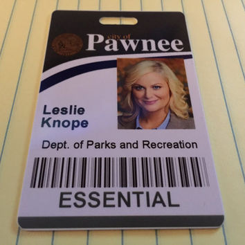 Leslie Knope - City of Pawnee PVC ID Badge - dept. of parks and recreation