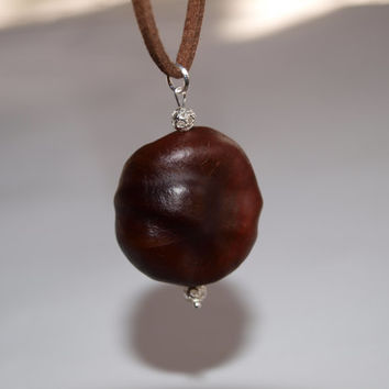 Chestnut pendant with beads Botanical jewelry Eco-friendly gift Nature inspired jewelry Conker Brown pendant Silver plated Horse chestnut