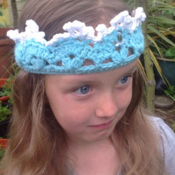 Baby/girls Snow queen Crown diamanté, frosty ice princess hat party photo prop crochet