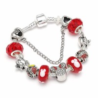 European Style Mickey Mouse Charm Bracelets & Bangle Fashion Original DIY Red Minnie Pandora Bracelet for Children Jewelry