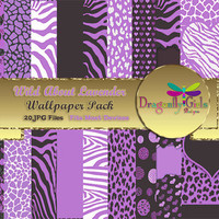 80% OFF Sale WILD About Lavendar Digital Wallpapers for Mobile Devices, Instant Download, Zebra Leopard Animal Print