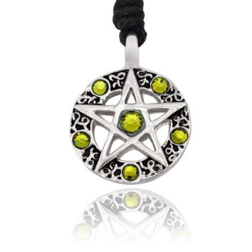 Pentagram Silver Pewter Charm Necklace Pendant Jewelry