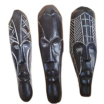 "🎁 ONE DAY SALE 12"" - 13"" African Gabon Cameroon Wood Fang Mask in Black"