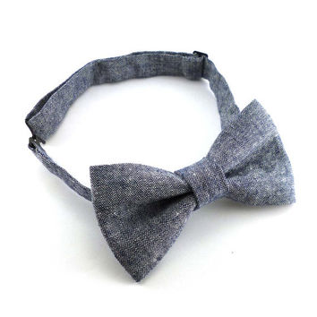 Denim chambray bow tie – pre tied adjustable – navy blue linen cotton blend – adult size bow ties for men