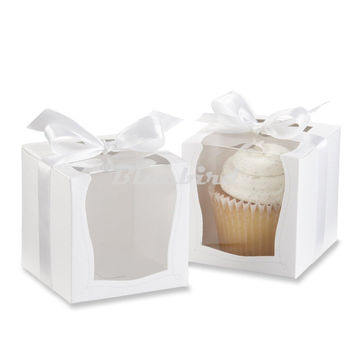 12x White Paper Cupcake Box Cake Box Party Wedding Favor Boxes Paper Cake Box Packaging Containers With Clean PVCWindow And Bow