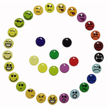 Emoticons Goofy Happy Angry Smiley Faces - 33 Pieces 3D Semi-circular Home Button iPhone iPad Decals Stickers
