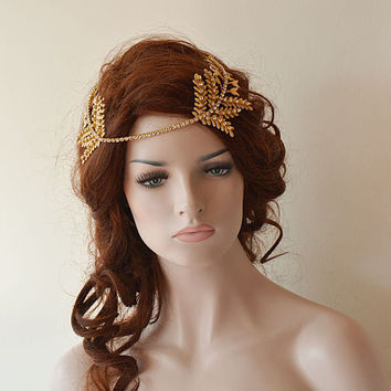 Gold Rhinestone Forehead band, Bridal headband, Bridal Halo,  Wedding Hair Accessories, Bridal Hair Accessory