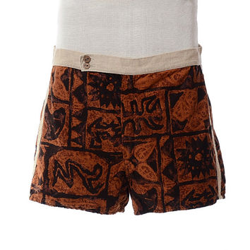 Vintage 60s Pebble Beach Seatcovers Hawaiian Swim Trunks 1960s Tiki Surf Swim Wear Batik Bathing Suit Board Shorts Cabana Swimsuit / mens 36