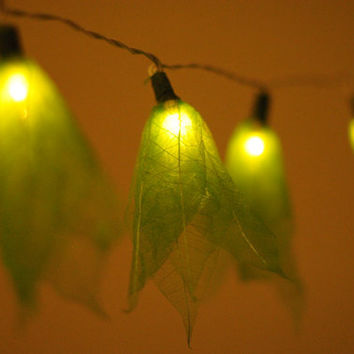 20 light green leaf flower handmade string light hanging lantern indoor decoration light bedroom study room living room decor
