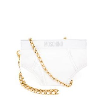 MOSCHINO | Leather Pants Bag | brownsfashion.com | The Finest Edit of Luxury Fashion | Clothes, Shoes, Bags and Accessories for Men & Women