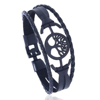 Women Black Tree of Life Buckle Leather Bracelet Men Imitation Leather Casual Braided Rope Bracelet Wood Bead Punk Bracelet 21cm