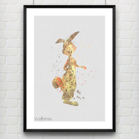 Rabbit Winnie the Pooh Disney Watercolor Poster Art Print, Baby Nursery Wall Art, Kids Decor, Not Framed, Gift, Buy 2 Get 1 Free! [No. 41]