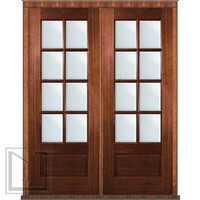 Pre-hung French Double Door 96 Mahogany 3/4 Lite 8 Lite TDL Glass
