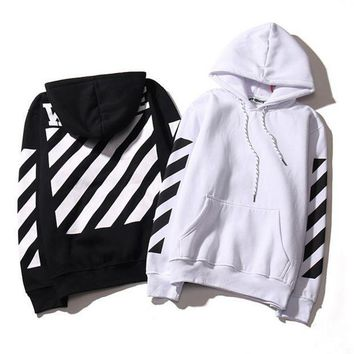 Fashion Off White Striped Hoodies Sweatshirt Pullover In Black & White