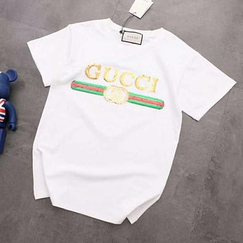 GUCCI Summer Fashion Women Men Leisure Sequins T-Shirt Top Blouse White