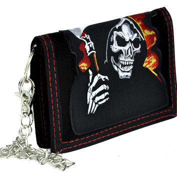 Hell Fire Grim Reaper Tri-Fold Wallet with Chain Alternative Clothing Death