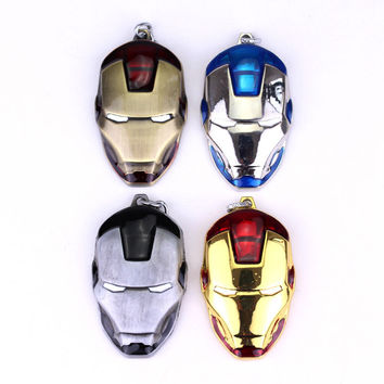 Movie Series Key Chain Marvel Comics The Avengers Iron Man Head Metal Pendant Keychain 4 Colors