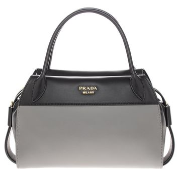 Prada Womanâ€s Bowling Ribbon Leather Bag Black and Grey