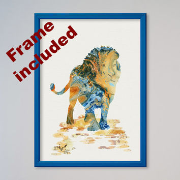 Lion Watercolor Poster Print Nursery Art Print Home Decor Wall Decor Animal Art Poster Lion Poster FRAMED coloured frames