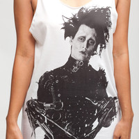 Johnny Depp Shirt Edward Scissorhands Movie Shirts  Women Tank Top  White Shirt Tunic Top Vest Sleeveless Women T-Shirt Size S M