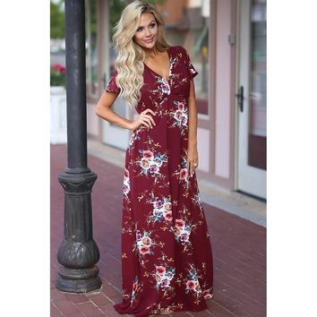 Print Summer Women's Fashion Prom Dress Short Sleeve One Piece Dress [187929231385]