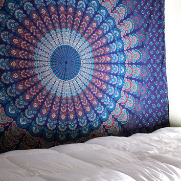 Turquoise Tapestry, Mandala Tapestry, Teal Tapestry, Hippie Tapestry, Bohemian Tapestry, Picnic Blanket, Wall Hanging, Mandala Throw