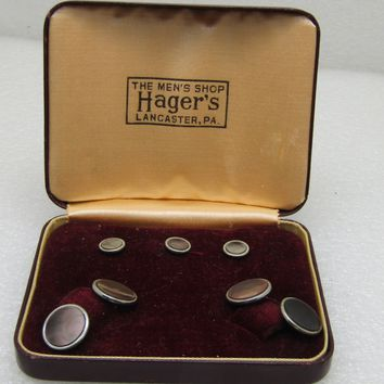 Vintage MOP Cufflinks, Tuxedo Studs Set,  MOP, 14kt Plated, Art Deco, In Box, Hager's, 1930's-1940's