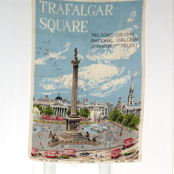 "Trafalgar Square London Tea Towel ""Poster"" Made Ireland 