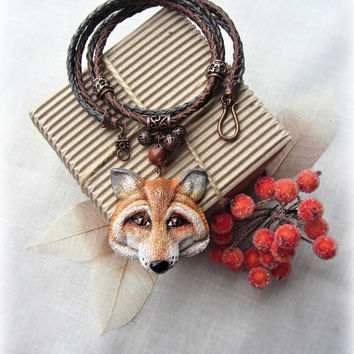 Polymer clay pendant with the red fox - animal jewelry - Best gift for her  - Nature - Forest mistery - Wild nature - Leather cord - Boho