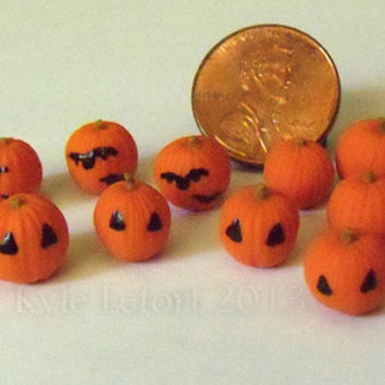 Miniature Polymer Clay Pumpkins - Plain or Painted For Halloween - Your Choice - Series 1