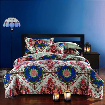 Bohemian style 100%Cotton Queen Bedding sets rosered bedclothes 4Pcs bed Flat linen/sheet duvet cover set pillowcase/cover