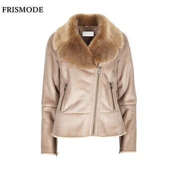 S-7XL Winter Female Faux Fur Shearling Jacket 2016 Fashion Thick Warm Casual Plus Size Women Suede Leather Double-faced Fur Coat