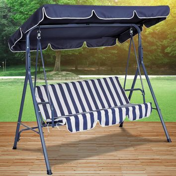 Canopied Blue Striped Patio Swing Chair