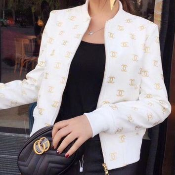 CHANEL Fashion Casual Women Embroidery Leather Long Sleeve Cardigan Jacket Coat White G